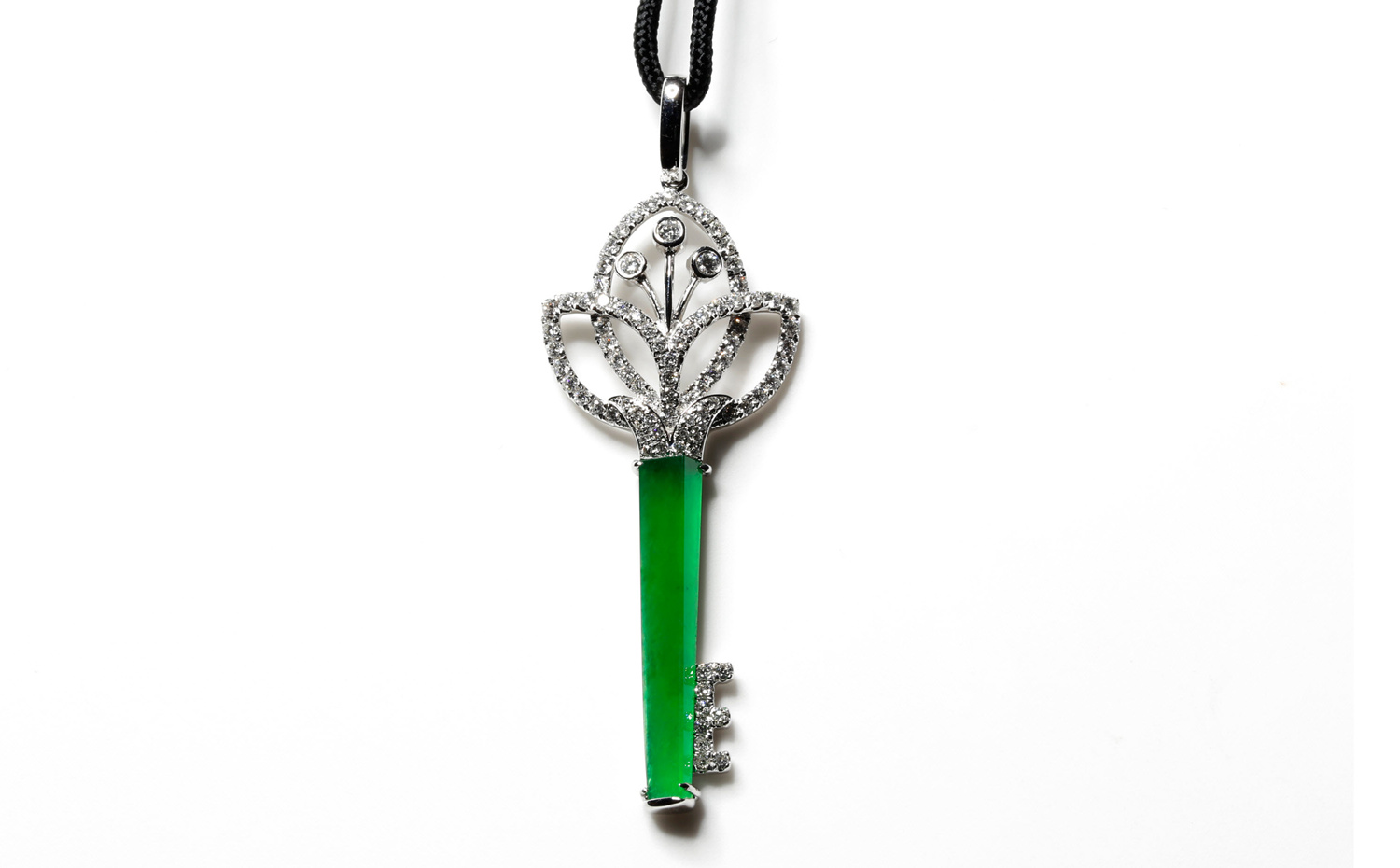 Queen's Jewellery Jadeite Key Pendent - Lotus