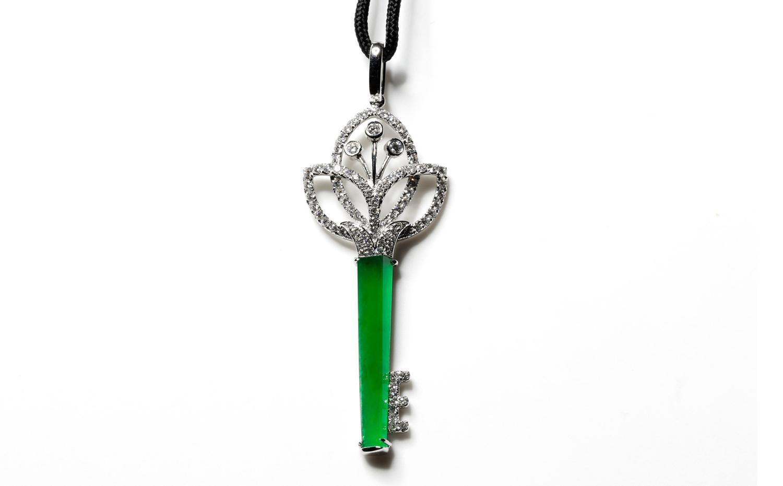 Queen's Jewellery Jadeite Key Pendent - Lotus