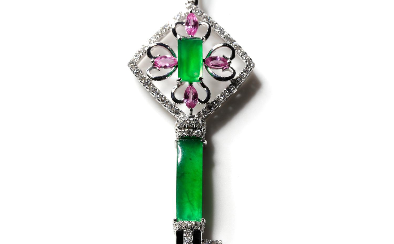 Queen's Jewellery Jadeite Key Pendent - Clover