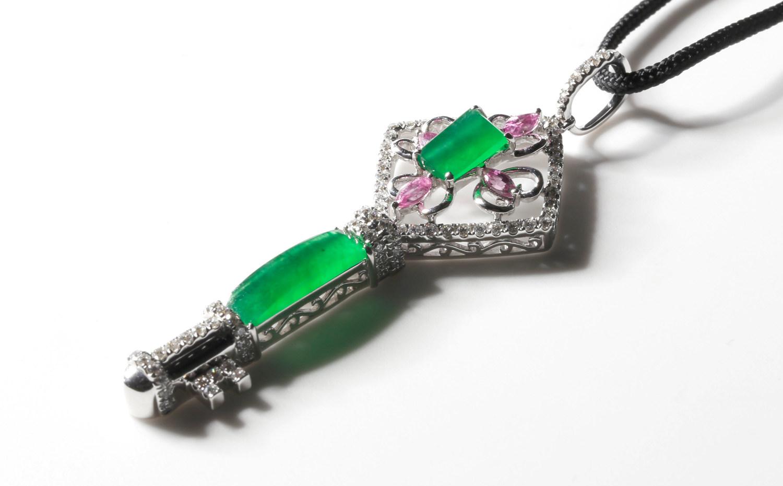 王后珠寶 Jadeite Key Pendent - 四葉草