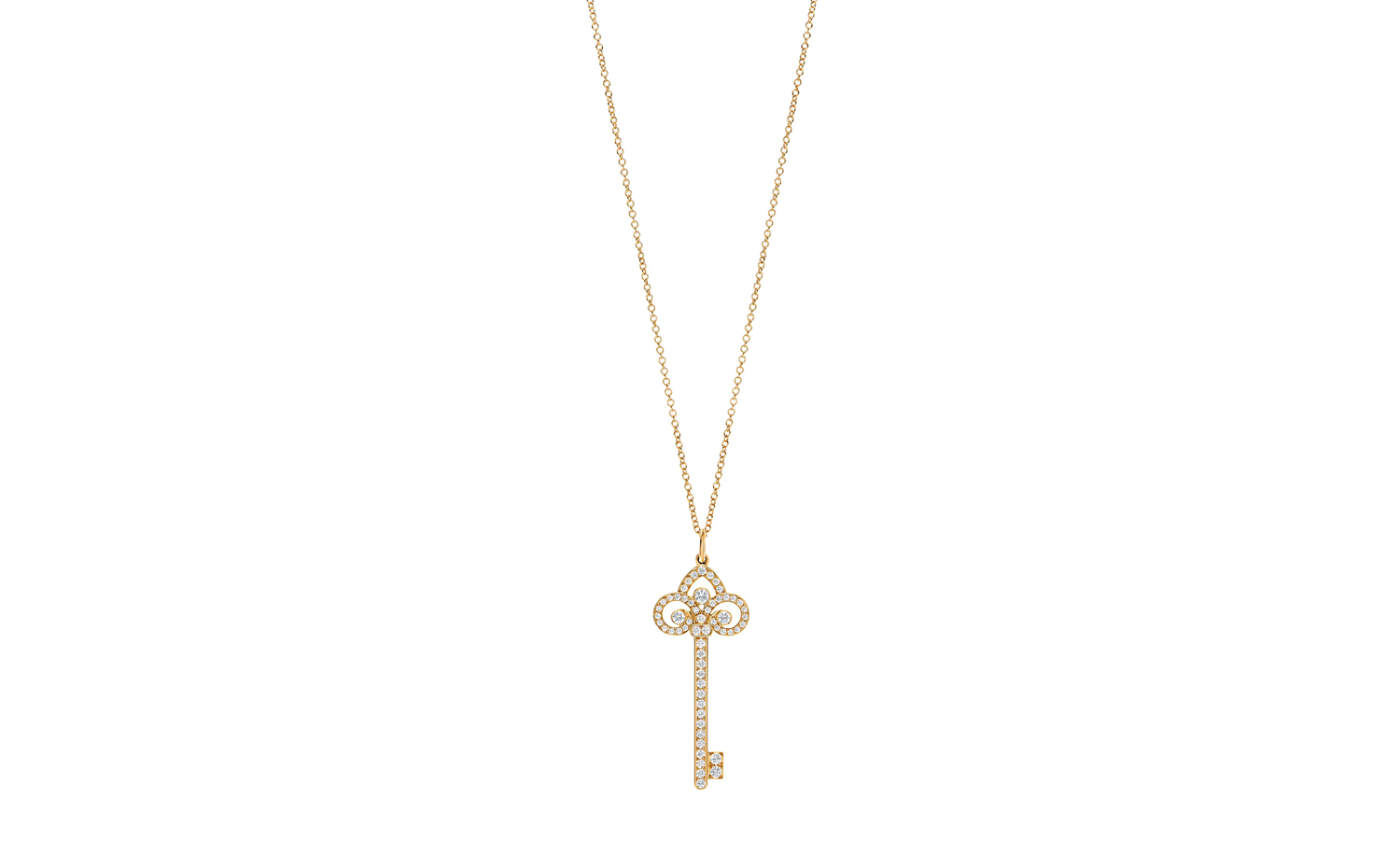 Tiffany Keys Fleur De Lis Key Diamond Pendant in Rose Gold