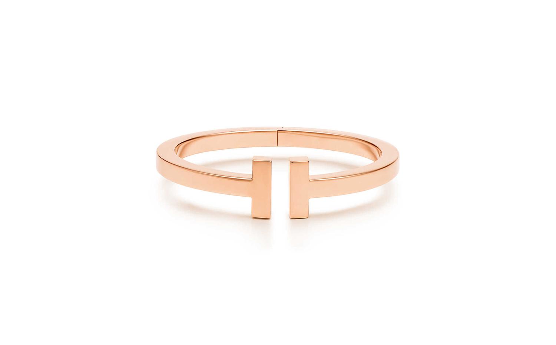 Tiffany T系列18K玫瑰金方形手鐲
