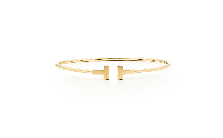 Tiffany T系列18K黄金窄版線圈手鐲