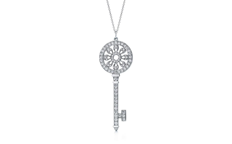Tiffany Keys 鉑金花瓣鑰匙鑽石吊墜