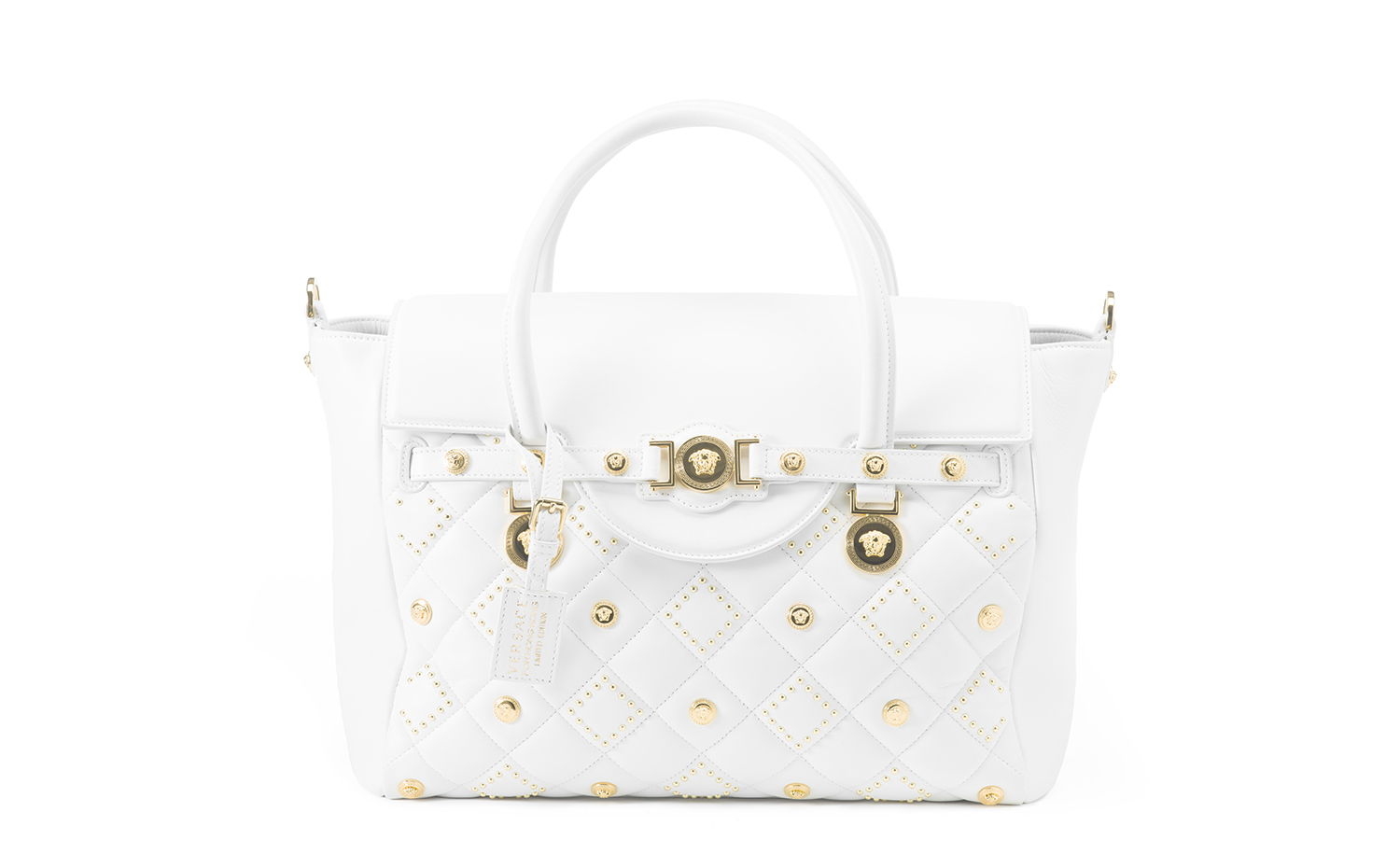 VERSACE Signature Large Top Handle - White