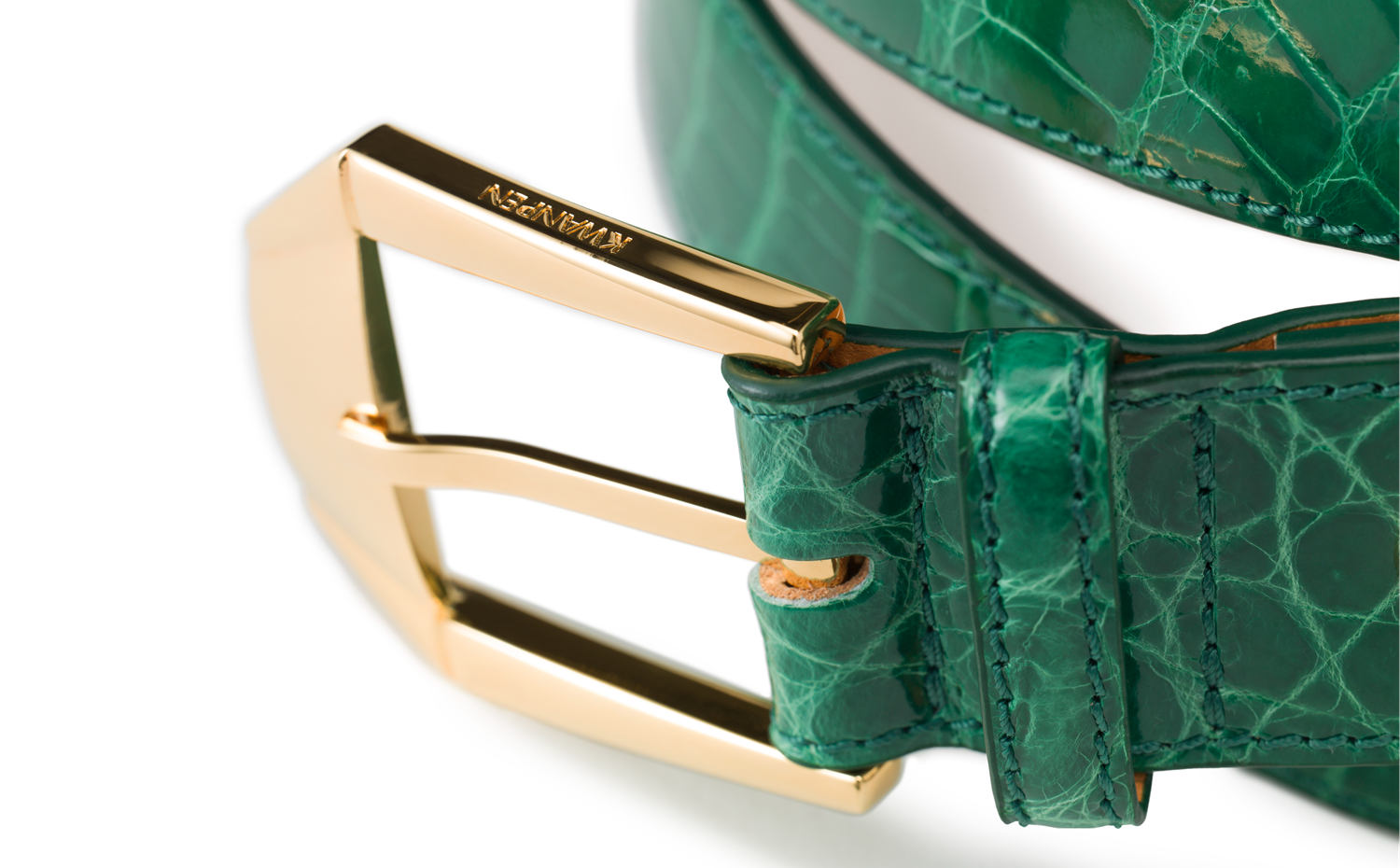 KWANPEN Men's Deluxe Crocodile Belt - Emerald
