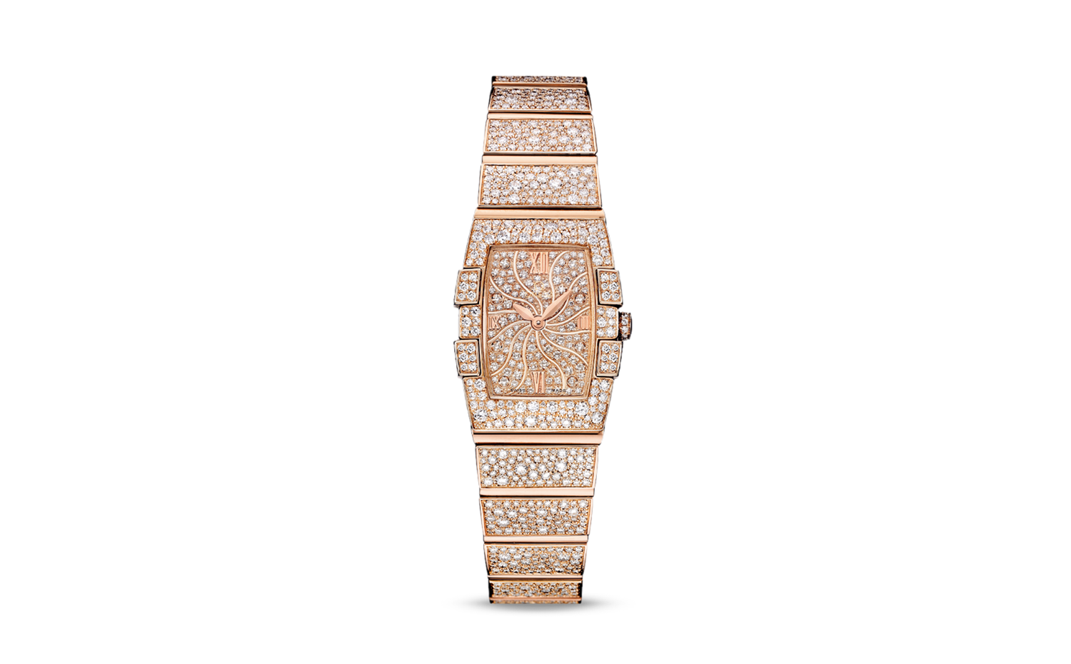 OMEGA Constellation Quadrella Quartz red gold strap 星座系列 - 桶形石英表款 玫瑰金