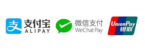 Alipay, WePay, UnionPay acceptable