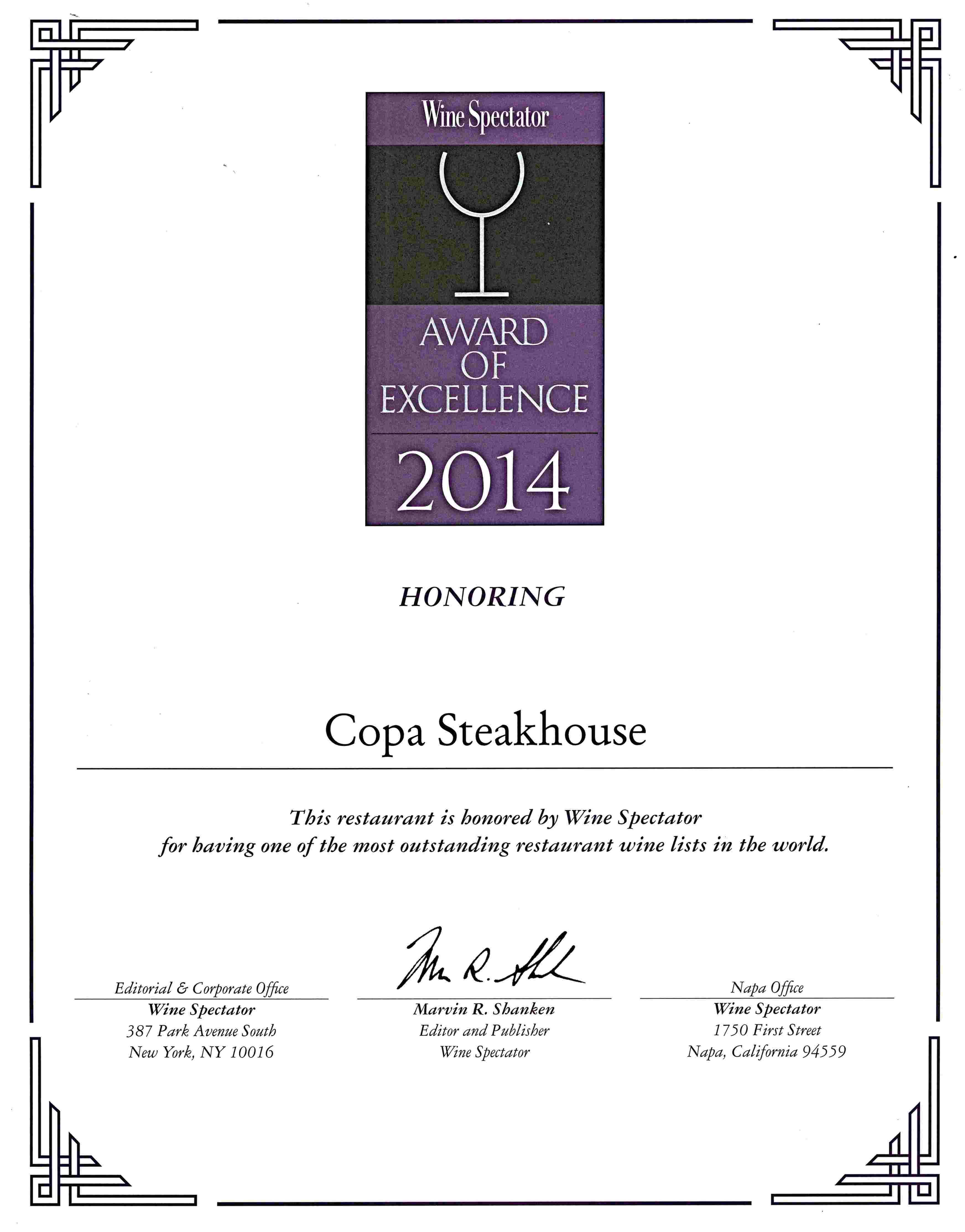 Copa Steakhouse - Wine Spectator List Awards 2014