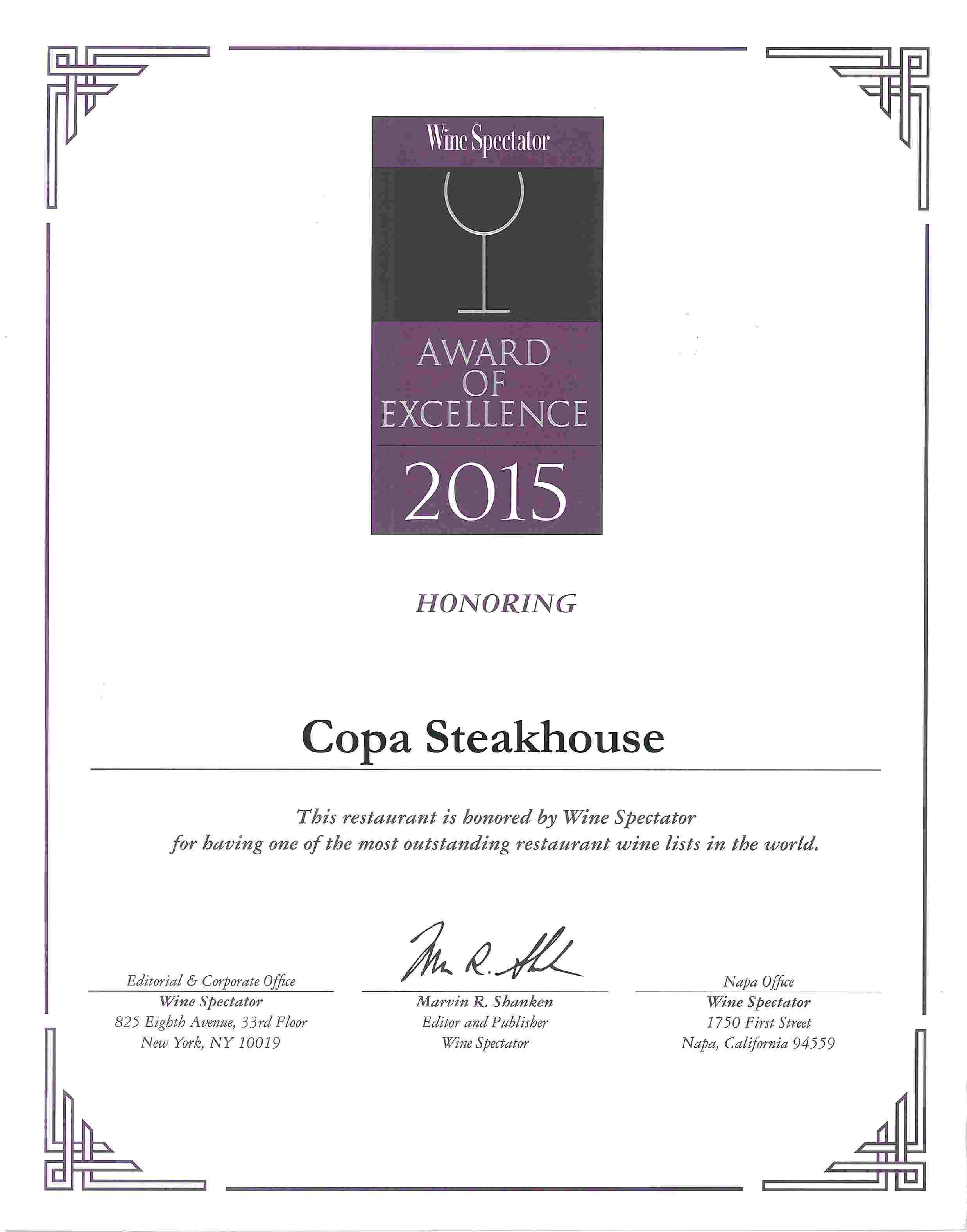 Copa Steakhouse - Wine Spectator List Awards 2015