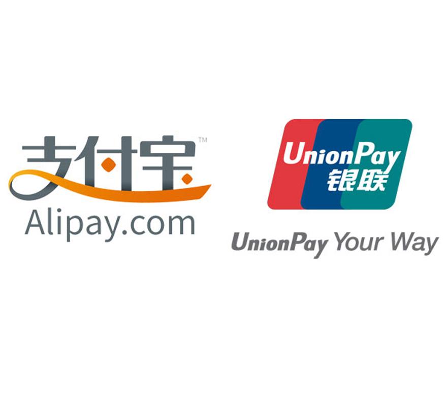 Alipay と UnionPay が利用可能