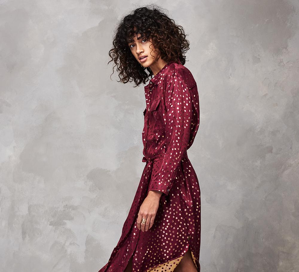 絲質提花恤衫裙