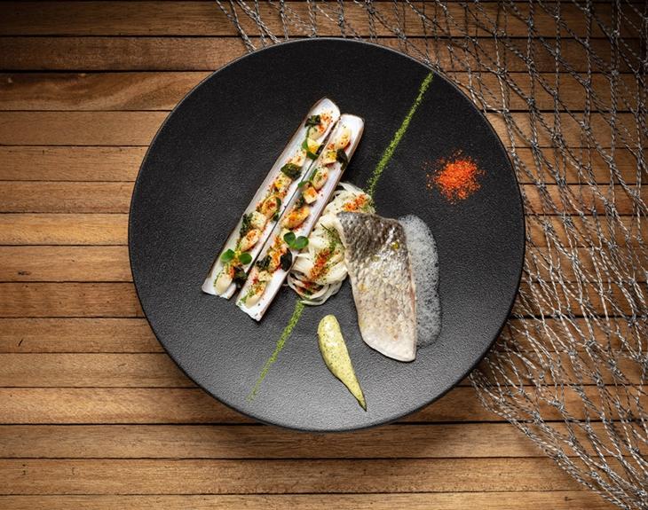 Seabass, razor clam, seaweed beurre blanc sauce