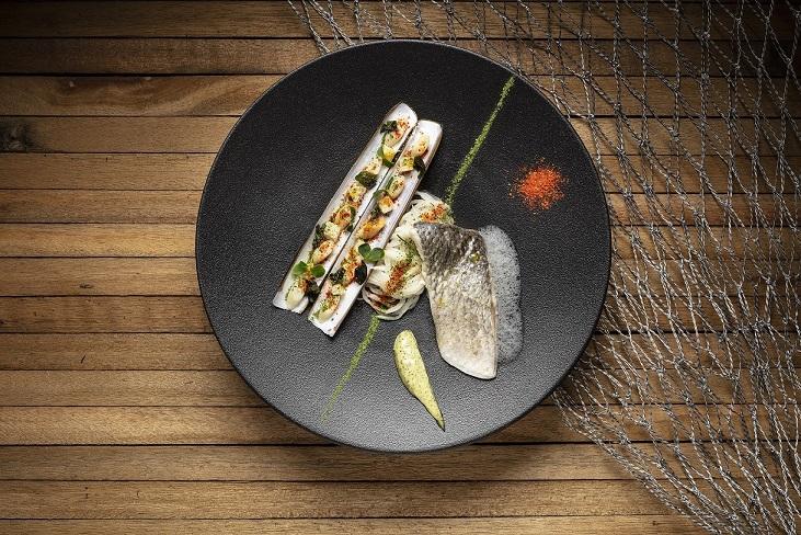 Seabass, razor clams, seaweed beurre blanc sauce