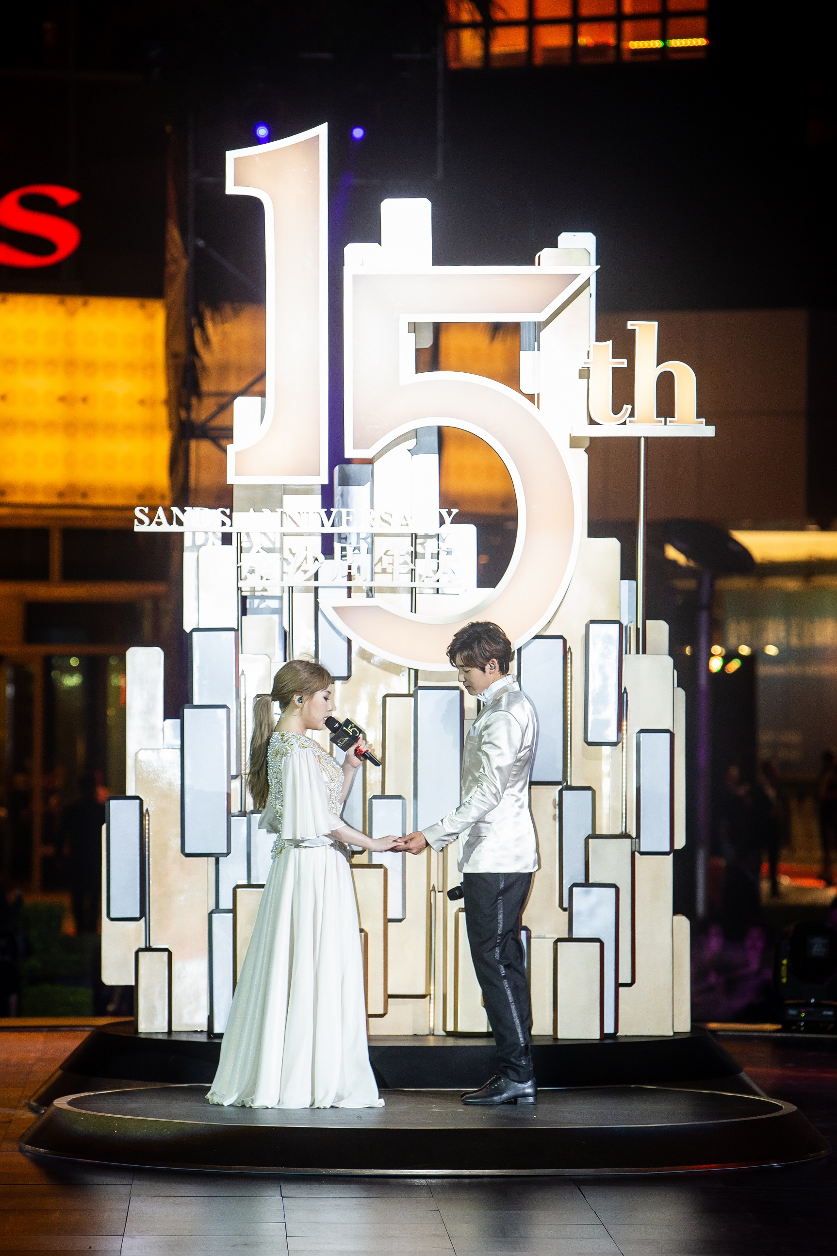 Korean singers Kevin Woo and Jimin Park  performent atthe 15th anniversary celebration for Sands Macao