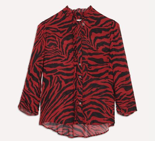 ba&sh 红黑斑马纹上衣